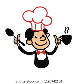 Cook with spoon and cup of hot drink in his hands. Kitchen-boy. Cartoon character in cook hubcap. Restaurant symbol. Cooking chef in uniform. Funny little man. Illustration for cooking book.