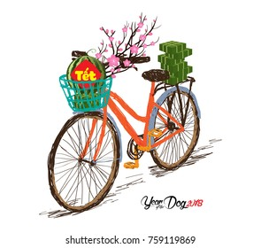 """Cooked square glutinous rice cake and blossom, bicycle. Vietnamese new year. (Translation """"T?t"""": Lunar new year)"""