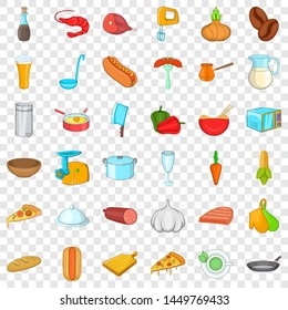 Cooking breakfast icons set. Cartoon style of 36 cooking breakfast icons for web for any design