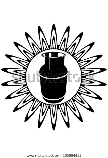 Cooking gas cylinder against the burning of the gas burner. Black and white illustration.