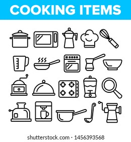 Cooking Items Thin Line Icons Set. Cooking Accessories Linear Illustrations. Kitchen Equipment, Electronics Contour Symbols. Cookware, Saucepans, Bowl, Coffee Making Machines Pictograms