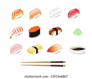 Cooking Japanese food Sushi set