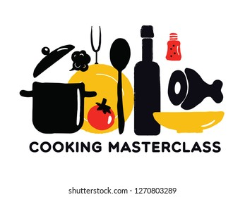 Cooking masterclass poster. Illustration of utensils and food. Vector design.