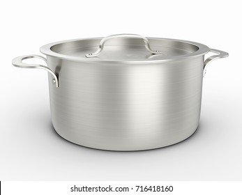 Cooking pot on a white background. 3D illustration.