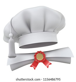 Cooking school concept with chef hat and diploma - 3D illustration