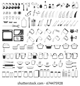Cooking signs, for manuals on packing. Cooking Instruction icons set.