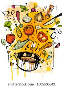 Cooking Sketch isolated on white background.