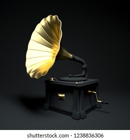 cool black and gold Musical instrument. decoration for banner, poster, home. gramophone isolated on black background. 3d rendering Concept poster.