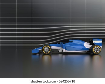 Cool blue formula racing car in wind tunnel - 3D Illustration