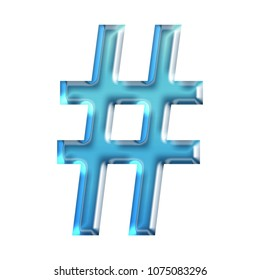 Cool blue glass hashtag social media icon or pound sign symbol in a 3D illustration with a shiny glowing blue color glossy smooth glass or plastic effect and bold font on white with clipping path