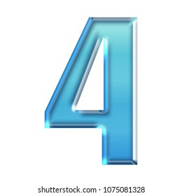 Cool blue glass number four 4 in a 3D illustration with a shiny glowing blue color glossy smooth glass or plastic effect and bold font on white with clipping path