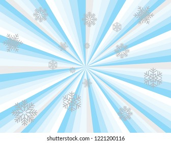 Cool blue winter magic abstract striped perspective with swirls and waves in blues, silver, and white with silver snowflakes. Groovy, psychedelic christmas background.