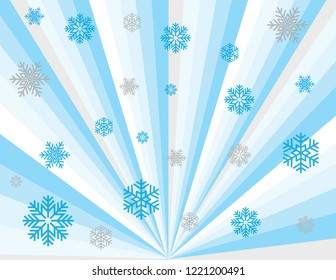 Cool blue winter magic abstract perspective rays with in blues, silver, and white with silver snowflakes. Groovy, psychedelic christmas background.