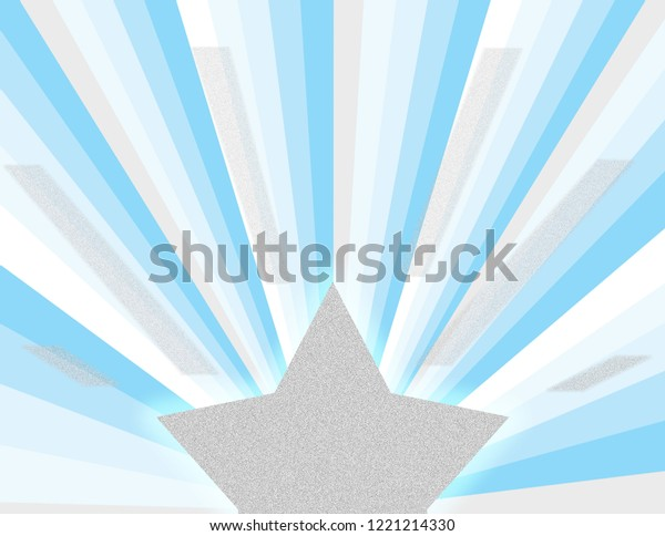 Cool blue winter magic abstract perspective rays in blues, silver, and white with a shining star burst. Groovy, psychedelic christmas background.