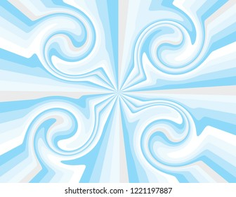 Cool blue winter magical abstract striped swirls.  Groovy, psychedelic Christmas background.