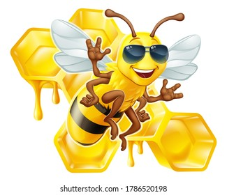 A cool bumble bee cartoon character in sunglasses or shades with a honey dripping bumblebee comb hive honeycomb in the background. This is a raster version of a vector illustration