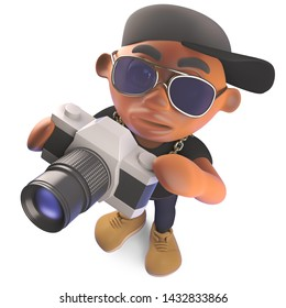 Cool cartoon black hiphop rapper taking a photo with a camera, 3d illustration render