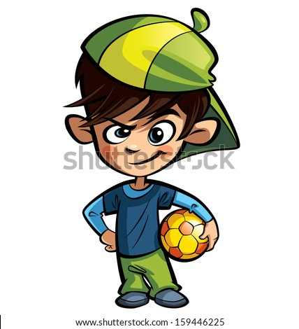 cool cartoon boy character wearing capのイラスト素材 159446225