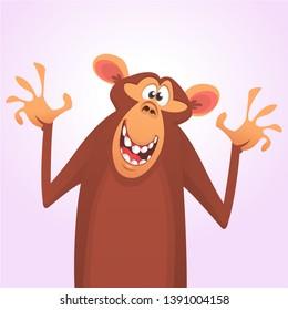Cool cartoon monkey chimpanzee waving