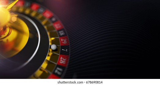Cool Casino Roulette Banner with 3D Roulette Wheel Illustration.