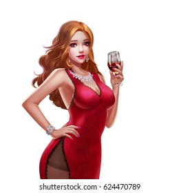 Cool Character: Beautiful and Luxury Casino Alluring Girl isolated on White Background. Video Game's Digital CG Artwork, Concept Illustration, Realistic Cartoon Style Background and Character Design