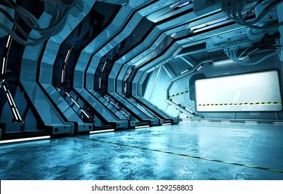 Cool corridor in spaceship. 3d render / Futuristic hall