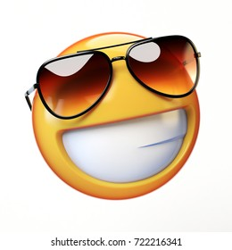 Cool emoji isolated on white background, smiling emoticon with sunglasses 3d rendering