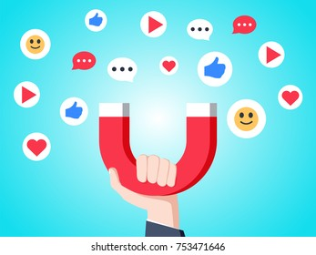 Cool flat design social media success and appreciation concept illustration. Hand holding magnet attracting likes, hearts and reaction smileys. Social media marketing in business