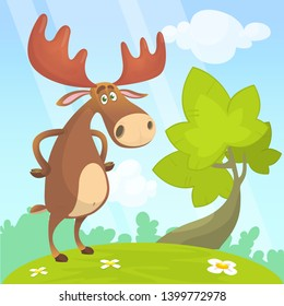 Cool and funny cartoon moose illustration