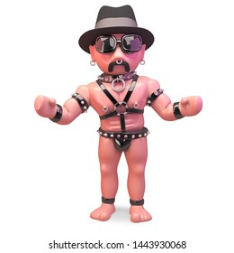 Cool gay man in leather fetish outfit wearing a trilby hat, 3d illustration render