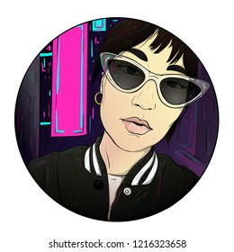 Cool girl walks with glasses in the night glowing city. Phosphoric pink billboard in the style of steampunk future. Round frame drawing image.