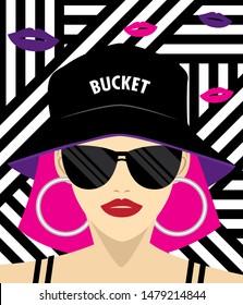cool girl wears bucket hat. Fashion illustration. Jpeg file.