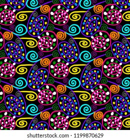 Cool hand doodled cartoonish swirls and dots in repeating bright pattern for textiles, fabric, wallpapers and creative surface designs