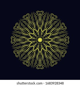 cool mandala ornament design with traditional symbol for the background.graphic illustration.art style line concept