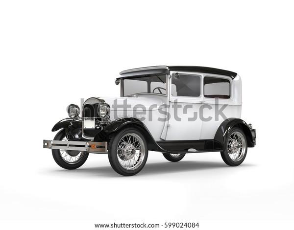 Cool oldtimer white vintage car - 3D Illustration