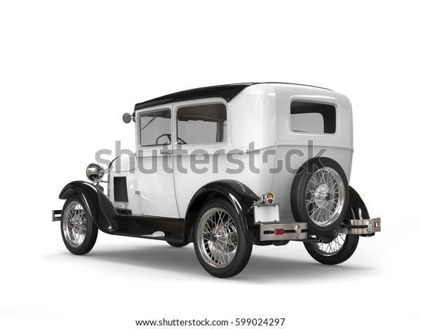 Cool oldtimer white vintage car - back side view - 3D Illustration