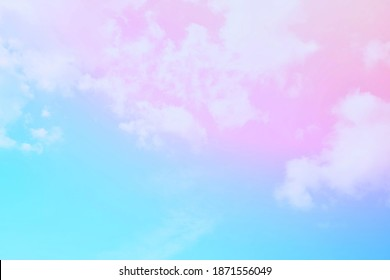 A cool pastel rainbow gradient on a background of sky and clouds, use a light effect to add a bluish-pink hue for a beautiful softness.