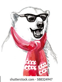 Cool polar bear in sun glasses and red scarf