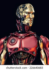 Cool robot upper body with golden face / Stylish cyborg with gold mask