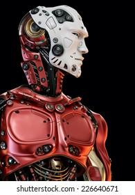 Cool robot upper body in side view / Stylish red cyborg white face