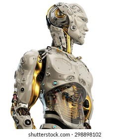 Cool robot upper body in side view / Artificial man