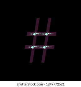Cool shiny purple blue color metallic hashtag social media icon or pound sign symbol 3D illustration with a smooth glossy polished finish in a libertine font on a black background with clipping path