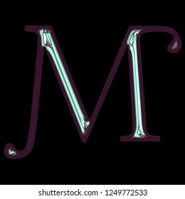 Cool shiny purple blue color metallic letter M in a 3D illustration with a smooth glossy polished finish in a libertine font on a black background with clipping path