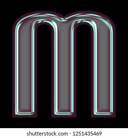 Cool shiny purple blue color metallic letter M in a 3D illustration with a smooth glossy polished finish in a rounded bold font on a black background with clipping path