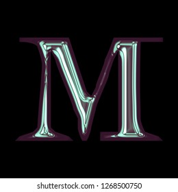 Cool shiny purple blue color metallic letter M in a 3D illustration with a smooth glossy polished finish in a rough edge font on a black background with clipping path