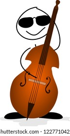 Cool stick figure with a contrabass