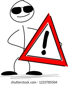 Cool stick figure with a sign Danger