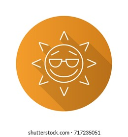 Cool sun smile flat linear long shadow icon. Summertime. Good mood emoticon. Raster outline symbol
