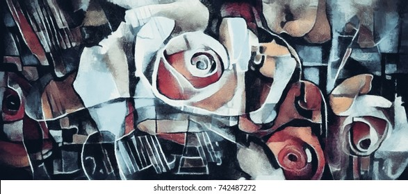 In cool tones. A bouquet of beautiful flowers in a modern style and cubism from Picasso and Kandinsky. Executed in oil on canvas with elements of fine art pastel painting. For gift and interior.