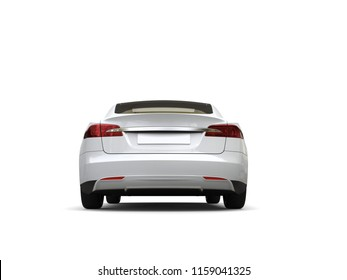 Cool white modern electric sports car - back view - 3D Illustration